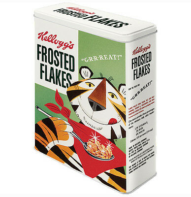 XLarge Retro Storage Tin Metal Box KELLOGG'S FROSTED FLAKES Tony Tiger Licensed