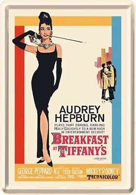 "Retro Tin Metal Postcard BREAKFAST AT TIFFANY""S Movie Mini Sign Audrey Hepburn"