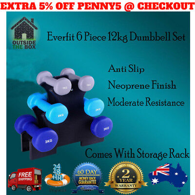 Dumbbell Everfit Gym Strength 6 Piece 12kg Weights Set With Stand Womans Weight