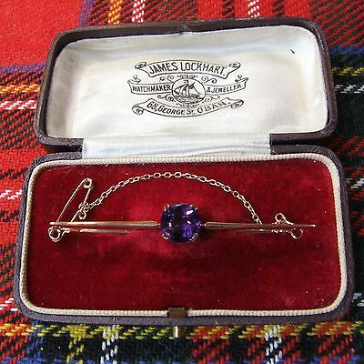 9 ct GOLD second hand antique victorian amethyst brooch