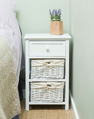 New Shabby Chic Tall Bedside Table Cabinets and Wicker Storage UK SELLER