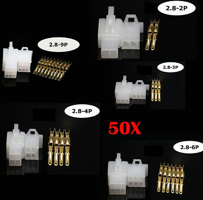 50Set Car Motorcycle Electrical 2.8mm 2 3 4 6 9 Pin Wire Auto Connector Terminal