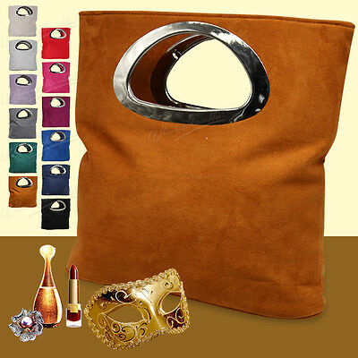Women Ladies Girly Folded Tote Bag Velvet Clutch Bag Purse Wallet Handbag
