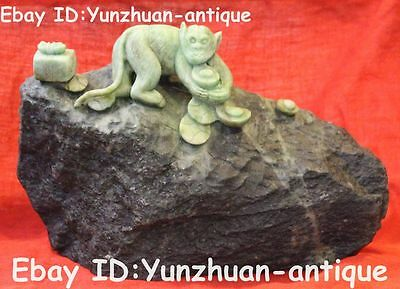 Rare Chinese Dushan Jade Hand Carving Wealth Money Monkey Monkeys Animal Statue