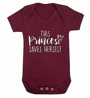 This princess saves herself baby vest independent feminist strong fairy tale3529