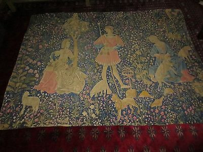 Large Antique Late 1800's French Tapestry Wall Hanging ,Painted or Block Printed