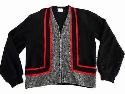 VINTAGE 60s ABBEY HILL mens zip up cardigan sweater knit acrylic mod mid century