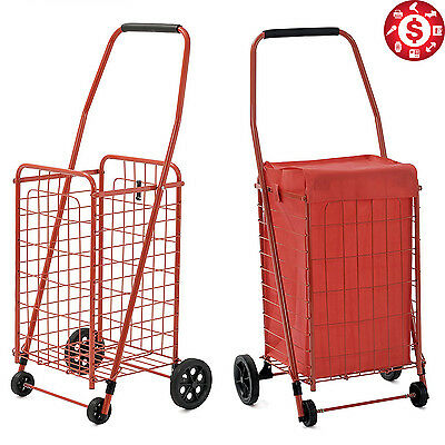 Folding Shopping Cart w Wheels Liner Basket Rolling Grocery Laundry Portable Bag