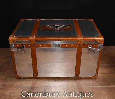 Chrome Leather Aston Martin Luggage Trunk Steamer Side Coffee Table