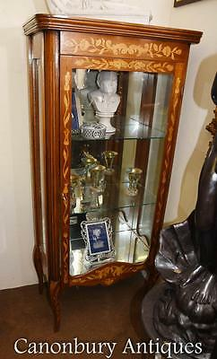 Dutch Marquetry Glass Display Cabinet Inlay Bijouterie