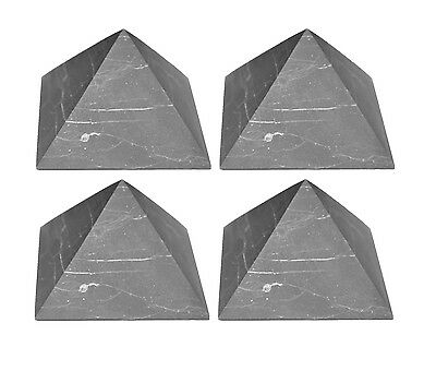 Set of 4 Shungite Pyramid against EMF Energy and Chakra Stone from Russia S100