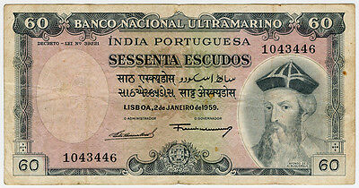 Portuguese India 1959 Issue 60 Escudos Scarce Banknote Vf.pick#42.