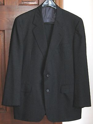 NIEMAN-MARCUS 2 pc suit sz 42 dk gray pinstripe/custom-made, a fabulous deal!