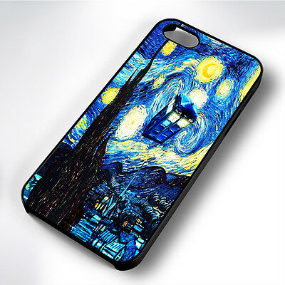 Dr Who Van Gogh Art Black Phone Case Cover Fits Iphone 4 5 6 7 (#bh)