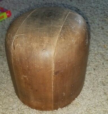 Vintage Wood Wooden Hat Form Mold Hatters Supply House Chicago #518  5/5/8-7/1/8