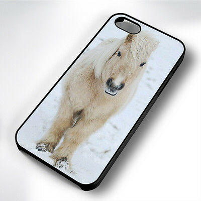 Cute Wht Winter Pony Black Phone Case Cover Fits Iphone 4 5 6 7 (#bh)
