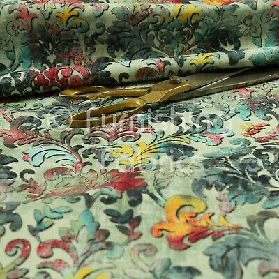 Modern Printed Velvet Floral Blue Damask Multi Colour Pattern Upholstery Fabric