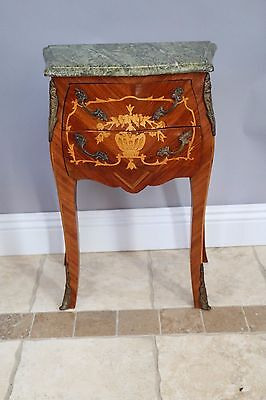 French Chest of Drawer Night Stand in Louis Quinze Baroque Style Iith inlays