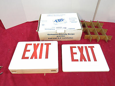 LED Exit Sign Emergency Fixture red Double Sided Encore Lighting White Plastic