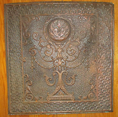 Primitive Antique Brass Fireplace Cover Screen Panel Wall Art Decor