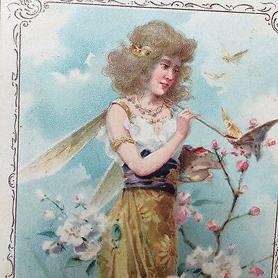 Original Antique LION COFFEE Fairy & Butterfly Victorian Advertising TRADE CARD