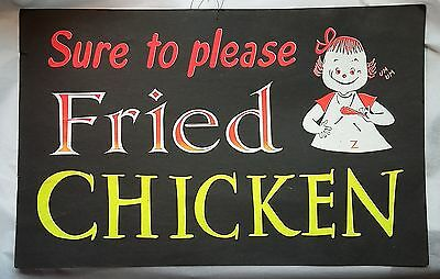 """Vintage Restaurant Sign, Poster """"Sure To Please Fried Chicken"""" Advertising"""