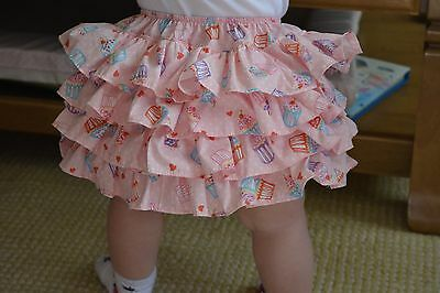 girls frilly pants-handmade in size 12/18 months cupcake FREE headband