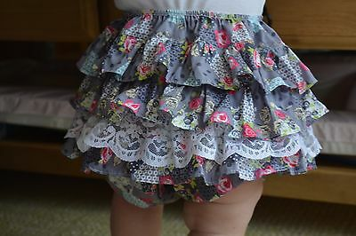 girls frilly pants-handmade in size 12/18 months patchwork FREE headband