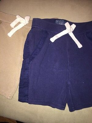 Polo By Ralph Lauren 12 Months Khaki  And Blue Shorts, Lot Of 2