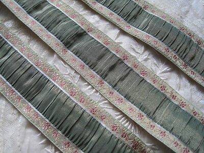 Vintage French Rushed Green & Pink With Gold Metal Ribbon Trim      1 Yard