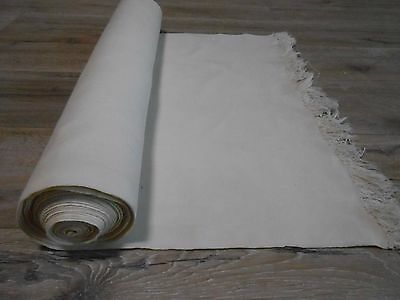 Antique Homespun White Thin Cotton Fabric Cloth 0,54x10m 1940s  Great condition