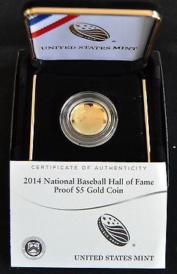 2014 NATIONAL BASEBALL HALL OF FAME PROOF $5 GOLD COIN w/ OGP