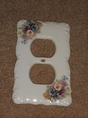 "CERAMIC PLUG COVER PLATE 3 1/4"" X 5"" WITH Flowers NICE"