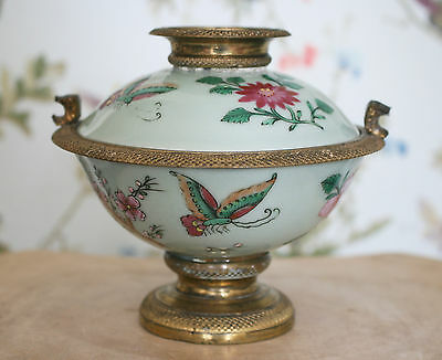 A Beautiful Antique Chinese c19th Butterfly Celadon Bowl & Cover, Ormolu, SIGNED