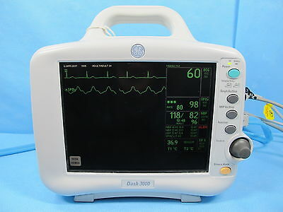 GE Dash 3000 Patient Monitor with SpO2 NIBP, ECG, & Temp - Warranty and Cable
