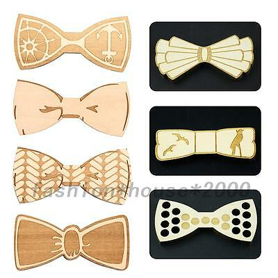 Handmade Wooden Bow Tie Bowknot Natural Wood Bowtie Wedding Party Party Present