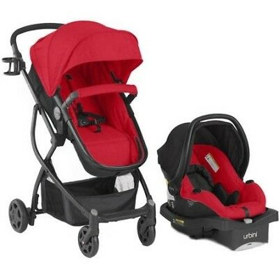 Baby 3in1 Travel System: Stroller, Car Seat, Buggy Bassinet - RED