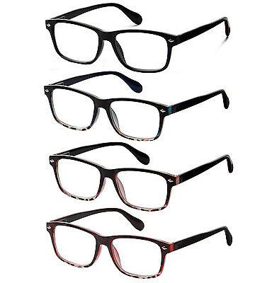 4 Pack Lot of Reading Glasses with Spring Hinge Clear Lens for Men and Women