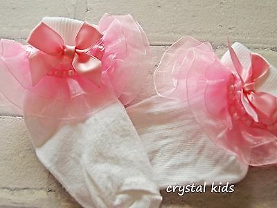 HANDMADE Baby Girls Socks White Pale Pink Organza Frilly Socks Various Sizes