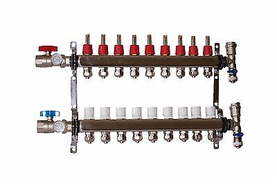 "9 Loop/branch 1/2"" Pex Manifold Stainless Steel Radiant Floor Heating Set/kit"
