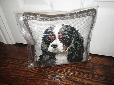 TRI COLOR Cavalier King Charles Dog Handmade Needlepoint Pillow 10 by 10  NWT