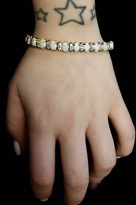 8In. Gold Tennis Bracelet with Opal and Diamond settings W/ Clip On Earrings