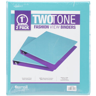 """Samsill Fashion Color Two-Tone Round Ring View Binder 1"""" 2/Pkg-Turquoise/Purple"""