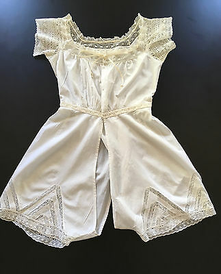 ANTIQUE VICTORIAN LATE 1800s CHEMISE~SPLIT DRAWER BLOOMERS~CAMISOLE TOP~LINGERIE