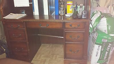 Roll Top Desk and Antique Chair