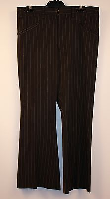"""MENS GREY STRIPPED ORIGINAL VINTAGE 1970s FLAIRED PANTS. WAIST 32"""" / 81CM."""