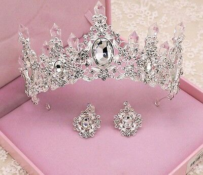 New crystal silver plated tiara crown wedding hair accessories and clip earrings