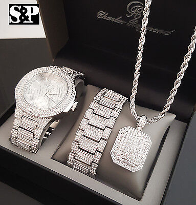 Men Hip Hop White Gold Pt Watch & Full Iced Out Necklace & Bracelet Combo Set