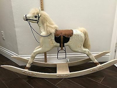 Rocking Horse Vintage Heirloom solid wood hand carved crafted 1970s deco