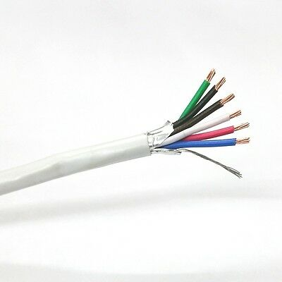 25' 6 Conductor 18 Gauge Shielded Cable, CMR Rated 25 Foot Length 6C 22AWG S1806